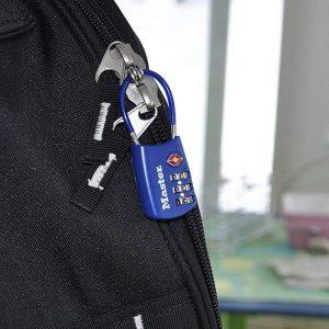 luggage lock on a black suitcase