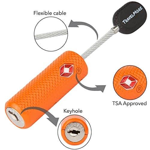 orange flexible luggage lock travelmore