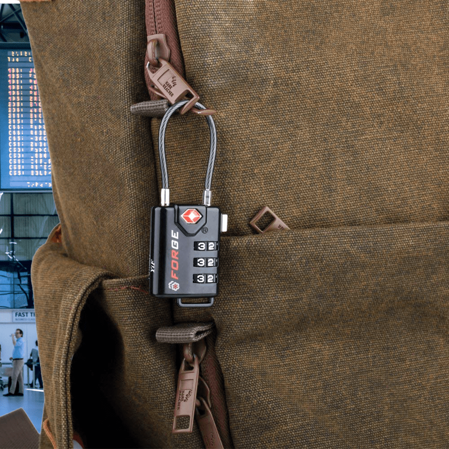 TSA approved luggage lock on a bag